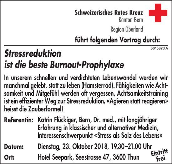 Schweizerisches Rotes Kreuz - Stressreduktion ist die beste Burnout-Prophylaxe: Referat am 23. Okt.