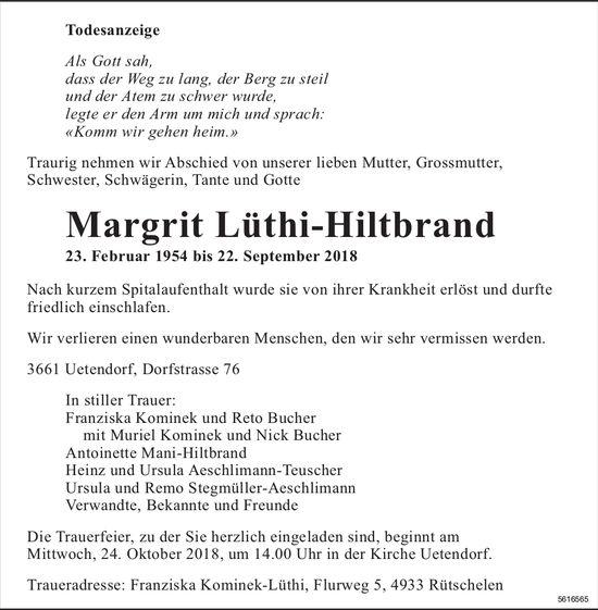 Lüthi-Hiltbrand Margrit, September 2018 / TA
