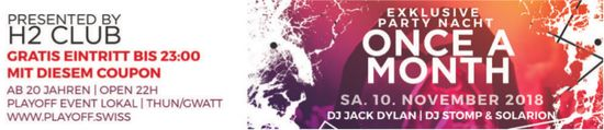 Exklusive Party Nacht Once a month, 10. November, H2 Club