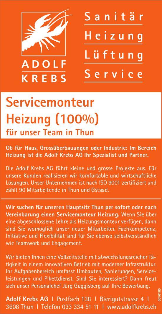 Servicemonteur Heizung (100%) bei Adolf Krebs AG gesucht