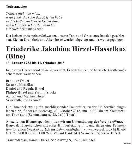 Hirzel-Hasselkus Friederike Jakobine (Bine), Oktober 2018 / TA