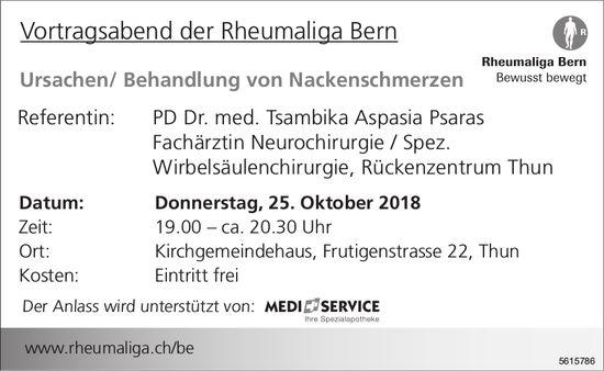 Vortragsabend der Rheumaliga Bern: Ursachen/ Behandlung von Nackenschmerzen am 25. Oktober