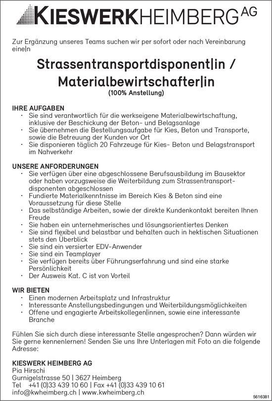 Strassentransportdisponent|in / Materialbewirtschafter|in bei KIESWERK HEIMBERG AG gesucht