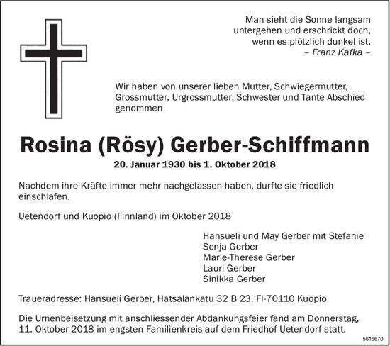 Gerber-Schiffmann Rosina (Rösy), Oktober 2018 / TA