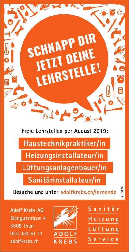 Adolf Krebs AG - Freie Lehrstellen per August 2019