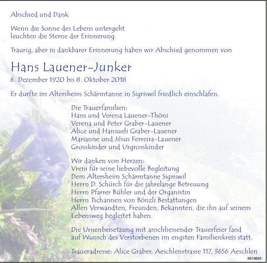Lauener-Junker Hans, Oktober 2018 / TA