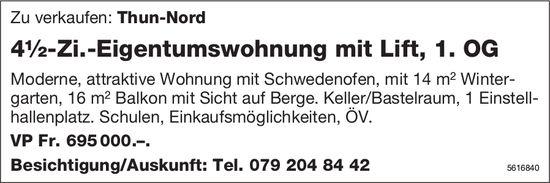 4½-Zi.-Eigentumswohnung mit Lift, 1. OG in Thun-Nord zu verkaufen