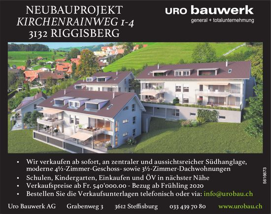 Neubauprojekt Riggisberg - 4½-Zimmer-Geschoss- sowie 3½-Zimmer-Dachwohnungen zu verkaufen