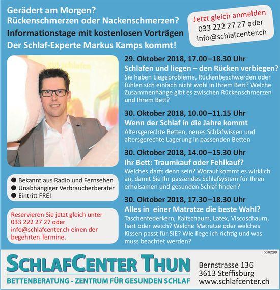 Der Schlaf-Experte Markus Kamps kommt, 29./30. Oktober, SchlafCenter Thun