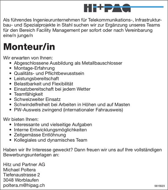 Monteur/in bei Hitz und Partner AG gesucht