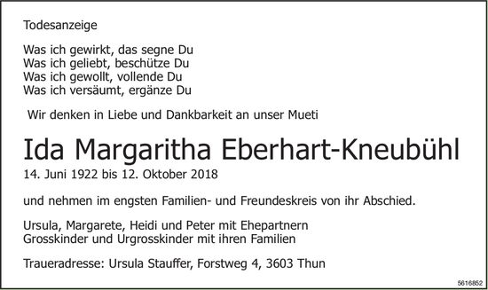 Eberhart-Kneubühl Ida Margaritha, Oktober 2018 / TA