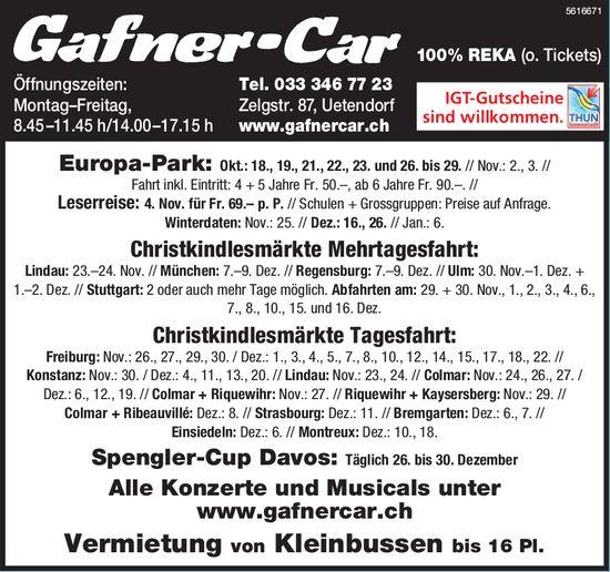 Gafner-Car - Programme & Events