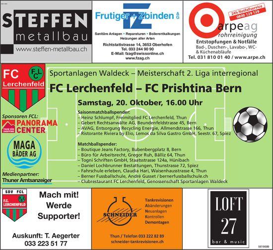 Meisterschaft 2. Liga interregional - FC Lerchenfeld vs. FC Prishtina Bern am 20. Oktober