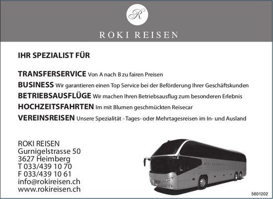 ROKI REISEN - IHR SPEZIALIST FÜR TRANSFERSERVICE, BUSINESS, BETRIEBSAUSFLÜGE USW.
