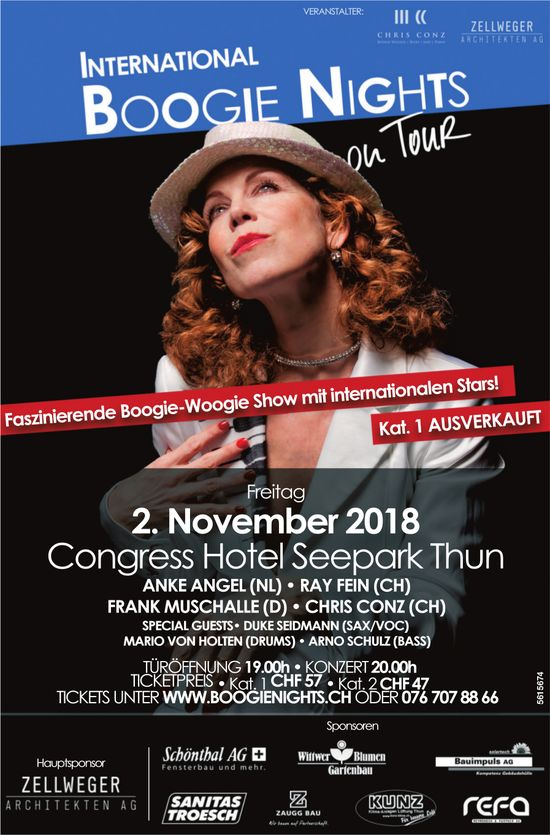 International Boogie Nights on Tour, am 2. November im Congress Hotel Seepark Thun