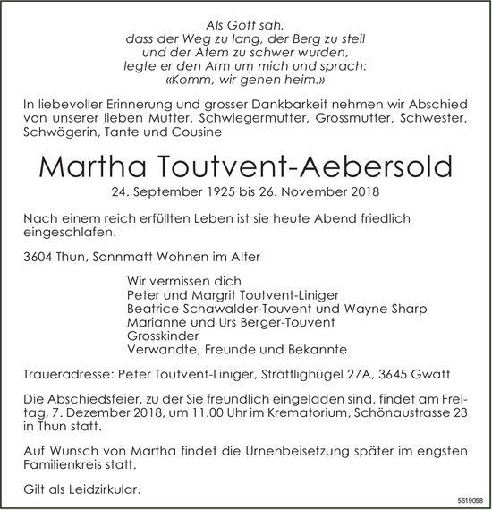 Toutvent-Aebersold Martha, November 2018 / TA