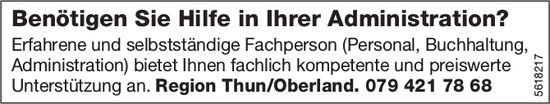 Benötigen Sie Hilfe in Ihrer Administration? Region Thun/Oberland