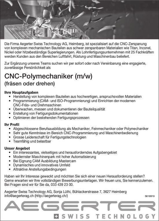CNC-Polymechaniker (m/w), Aegerter Swiss Technology AG, Heimberg, gesucht