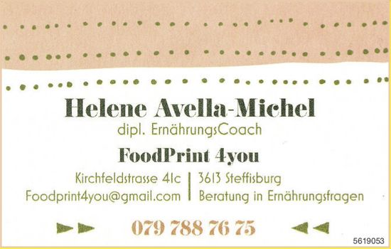Helene Avela-Michel, dipl. ErnährungsCoach - FoodPrint 4you