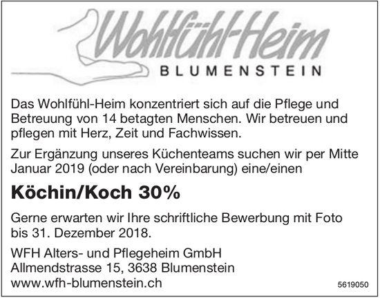 Köchin/Koch 30%, WFH Alters- und Pflegeheim GmbH, Blumenstein, gesucht