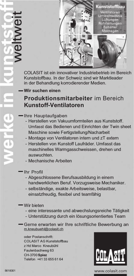 Produktionsmitarbeiter im Bereich Kunstoff-Ventilatoren, COLASIT AG Kunststoffbau, Spiez, gesucht