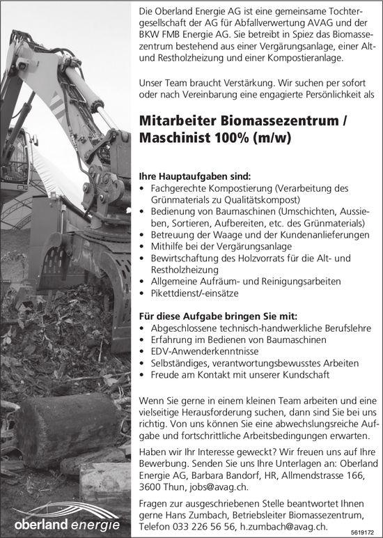 Mitarbeiter Biomassezentrum / Maschinist 100% (m/w), Oberland Energie AG, Spiez, gesucht