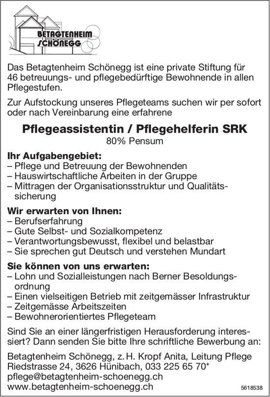 Pflegeassistentin / Pflegehelferin SRK, 80% Pensum, Betagtenheim Schönegg, Hünibach, gesucht