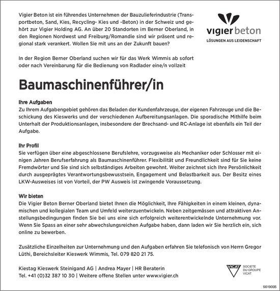 Baumaschinenführer/in, Kiestag Kieswerk Steinigand AG, Wimmis, gesucht