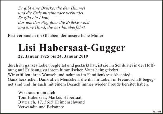 Habersaat-Gugger Lisi, Januar 2019 / TA + DS