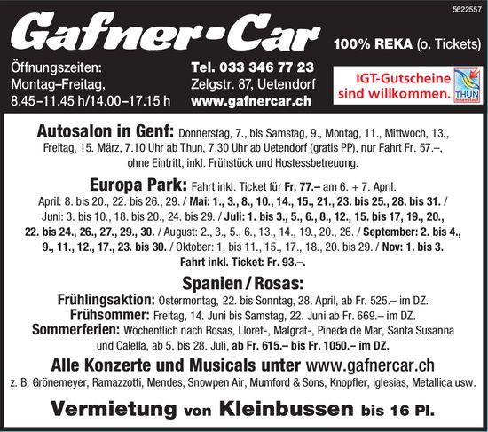 Gafner Car, Uetendorf - Reiseprogramm
