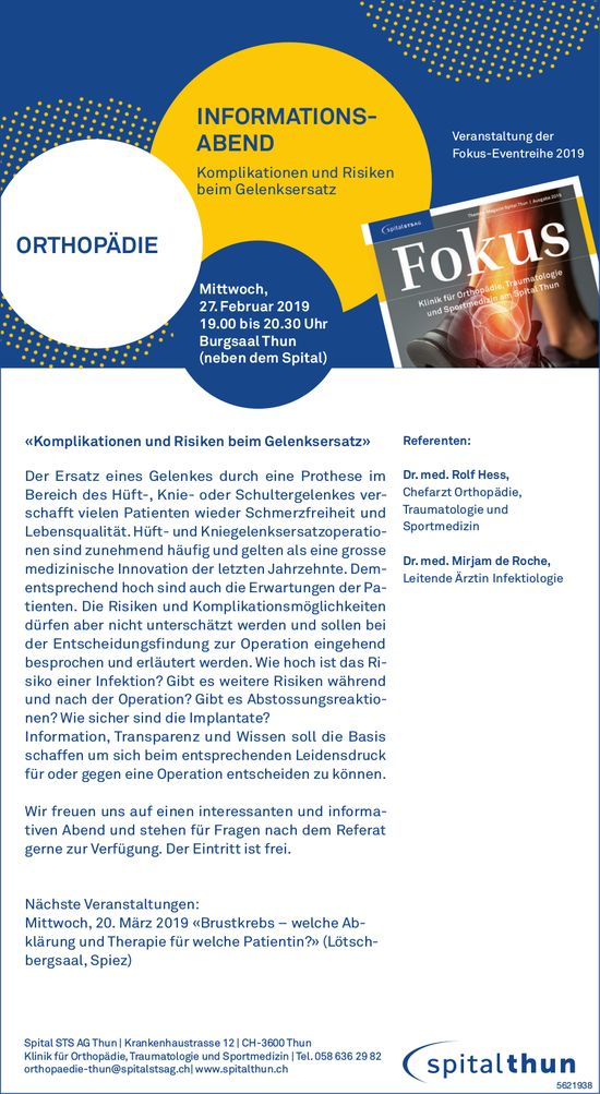 Spital STS AG Thun - INFORMATIONS- ABEND ORTHOPÄDIE AM 27. FEBRUAR