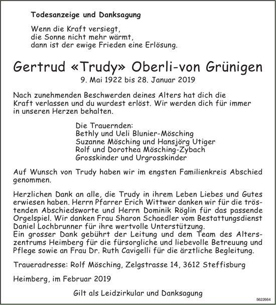 "OberIi-von Grünigen Gertrud ""Trudy"", im Februar 2019 / TA/DS"
