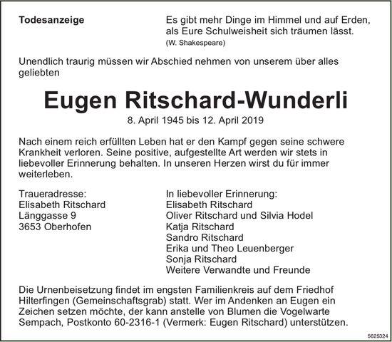 Ritschard-Wunderli Eugen, April 2019 / TA
