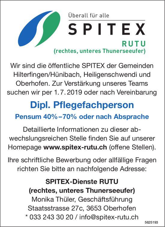 Dipl. Pflegefachperson, 40-70%, SPITEX-Dienste RUTU, Oberhofen, gesucht