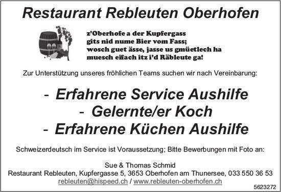 Service Aushilfe, Koch/Köchin & Küchen Aushilfe, Restaurant Rebleuten, Oberhofen, gesucht