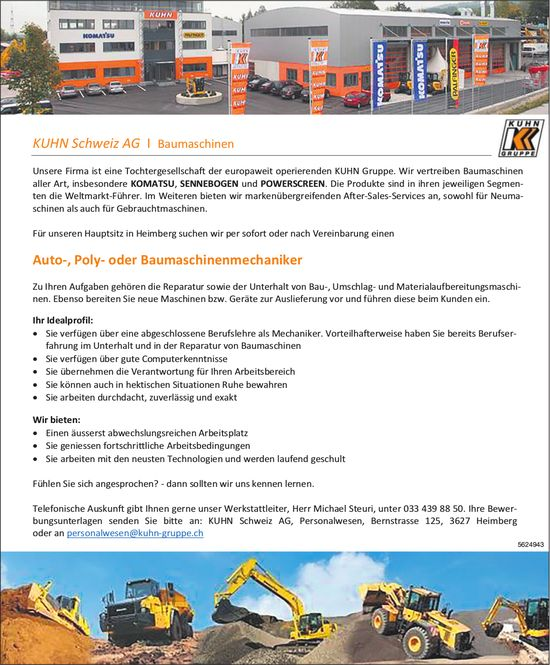 Auto-, Poly- oder Baumaschinenmechaniker, KUHN Schweiz AG, Heimberg, gesucht