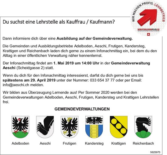 Infonachmittag, Lehrstellen als Kauffrau/-mann, 1. Mai, Gemeindeverwaltung Aeschi