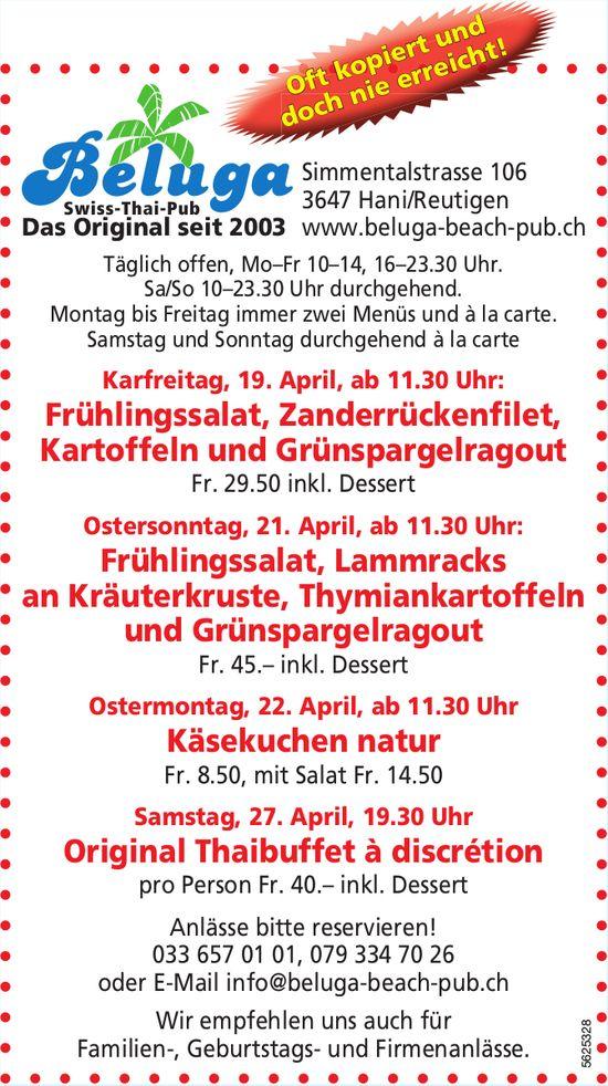 Beluga, Swiss-Thai-Pub - Programm & Events über die Festtage