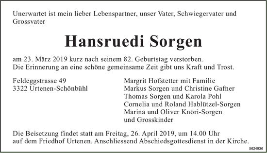 Sorgen Hansruedi, März 2019 / TA
