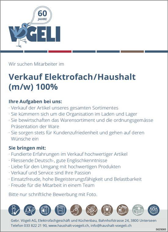 Verkauf Elektrofach/Haushalt (m/w) 100%, Gebr. Vögeli AG, Unterseen, gesucht
