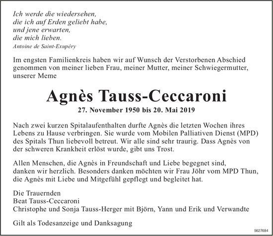 Tauss-Ceccaroni Agnès, Mai 2019 / TA
