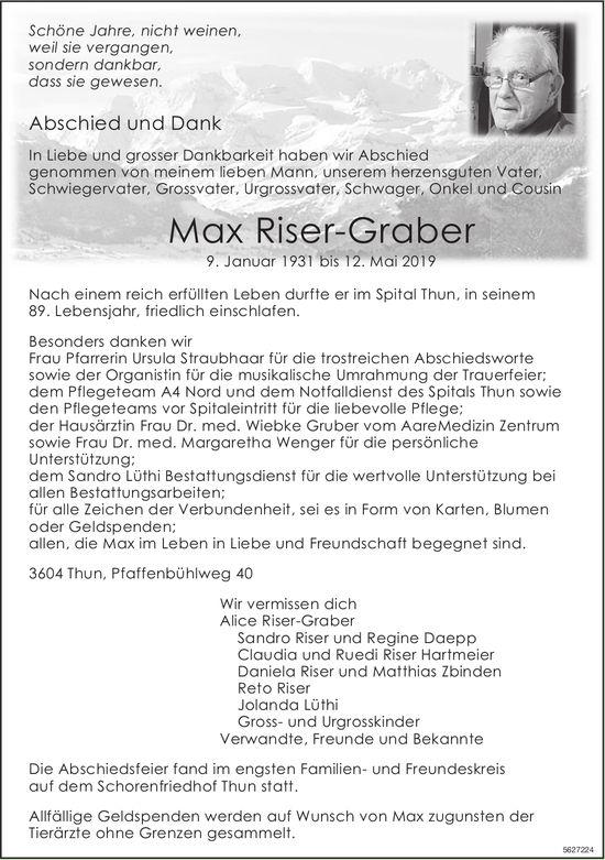 Riser-Graber Max, Mai 2019 / TA + DS