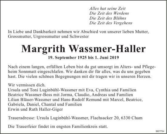 Wassmer-Haller Margrith, Juni 2019 / TA