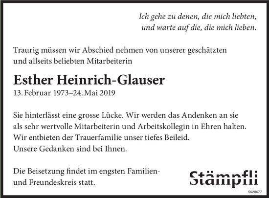 Heinrich-Glauser Esther, Mai 2019 / TA