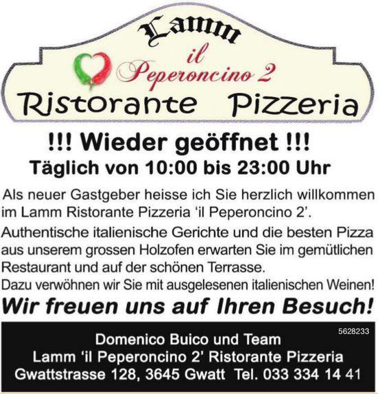 Lamm 'il Peperoncino 2' Ristorante Pizzeria - !!! Wieder geöffnet !!!