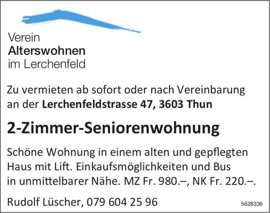 2-Zimmer-Seniorenwohnung im Verein Alterswohnen im Lerchenfeld zu vermieten