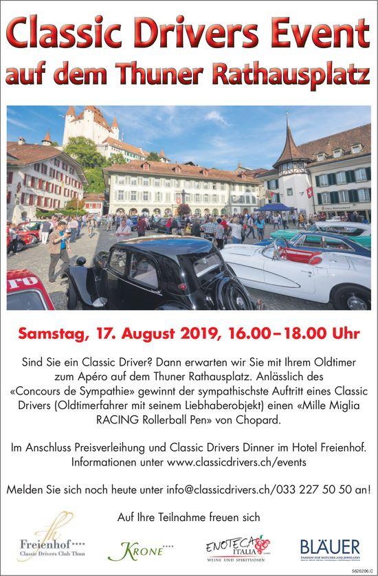 Classic Drivers Event auf dem Thuner Rathausplatz am 17. August