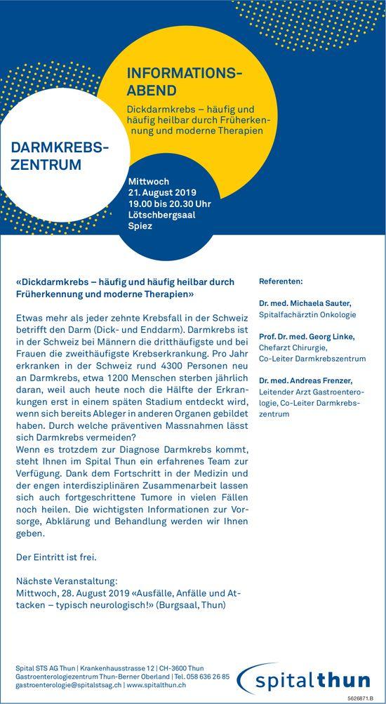 "Spital Thun - INFORMATIONS- ABEND ""Dickdarmkrebs""  am 21. August"