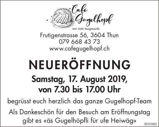 Cafe Gugelhopf - NEUERÖFFNUNG am 17. August