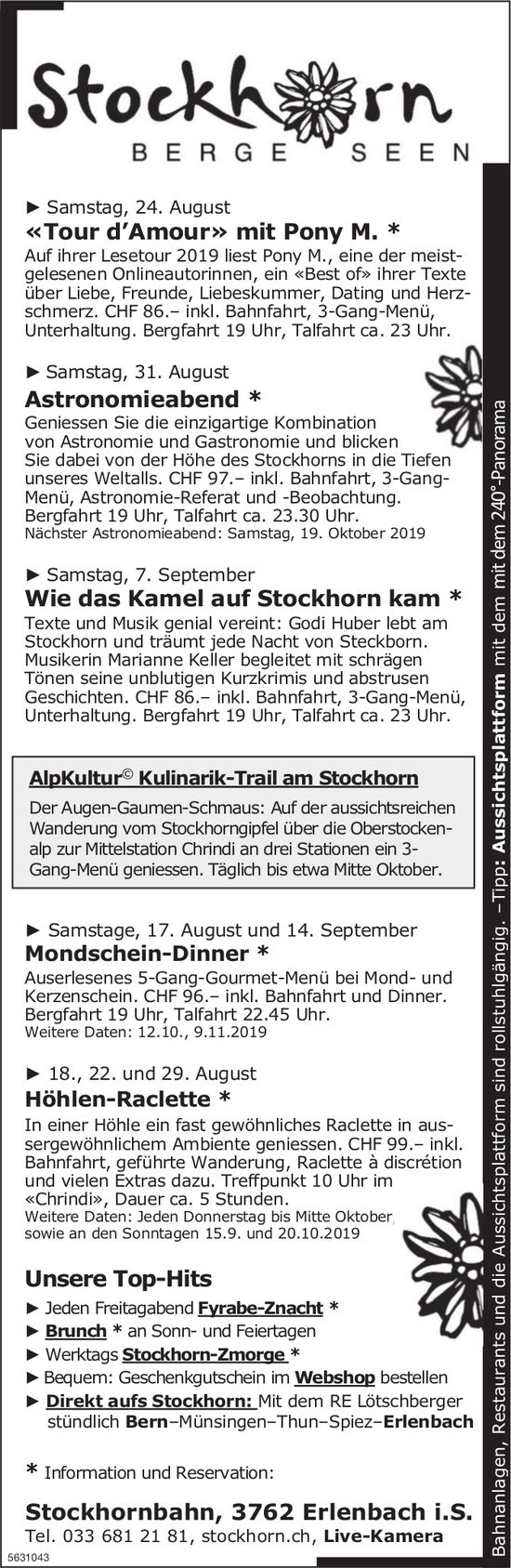 Stockhornbahn - Programm & Events